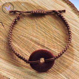 Goldstone Donut Macrame Bracelet